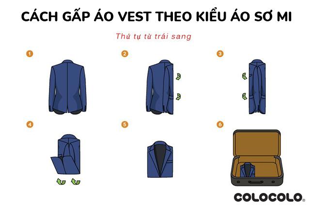 cách gấp áo vest